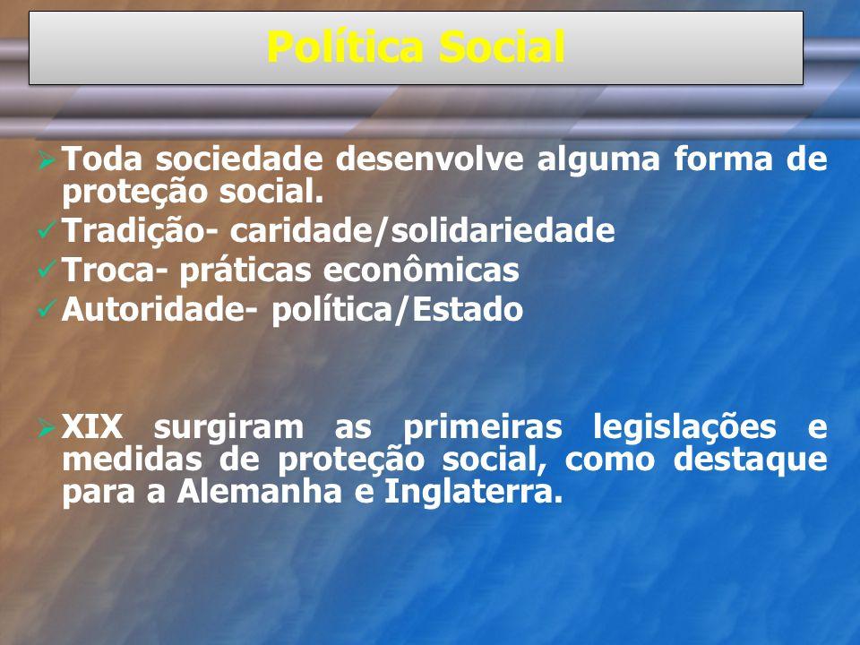 Política Social Toda sociedade desenvolve alguma forma de proteção social. Tradição- caridade/solidariedade.