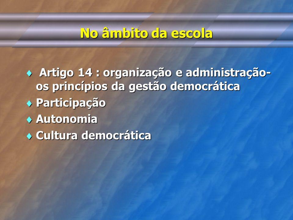 No âmbito da escola Artigo 14 : organização e administração- os princípios da gestão democrática. Participação.