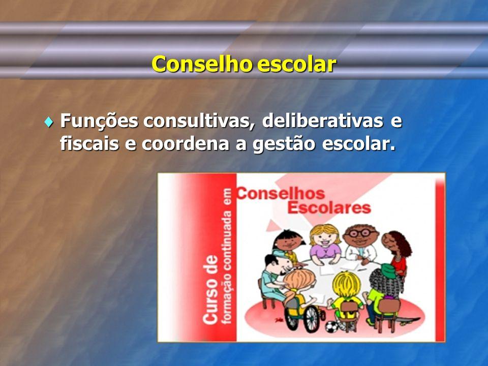 Conselho escolar Funções consultivas, deliberativas e fiscais e coordena a gestão escolar.