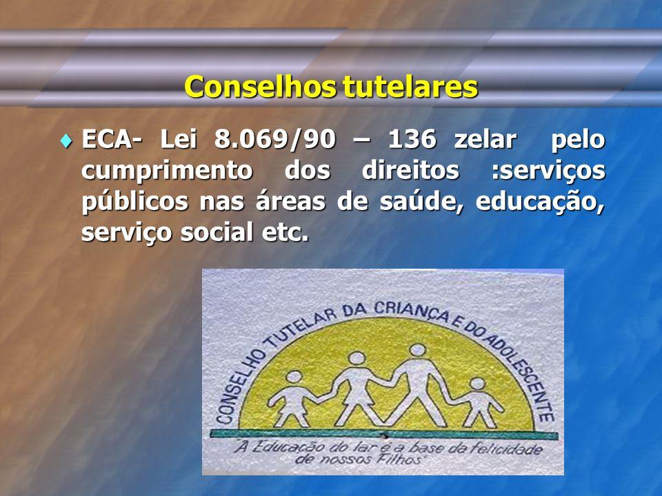 Conselhos tutelares ECA- Lei 8.069/90 – 136 zelar pelo cumprimento dos direitos :serviços públicos nas áreas de saúde, educação, serviço social etc.
