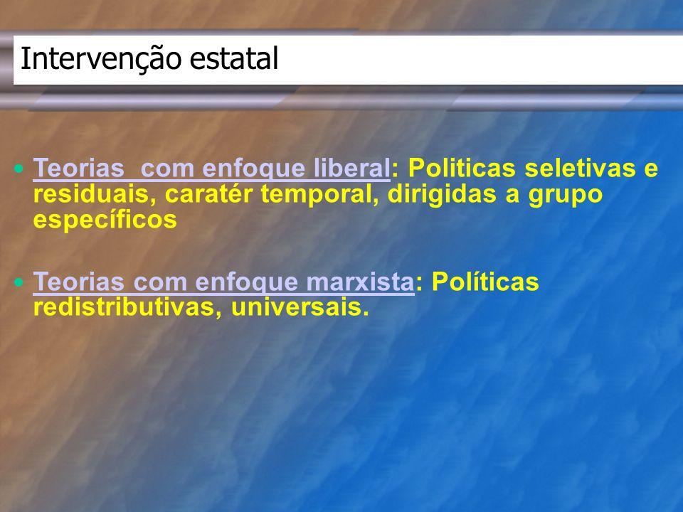 Intervenção estatal Teorias com enfoque liberal: Politicas seletivas e residuais, caratér temporal, dirigidas a grupo específicos.