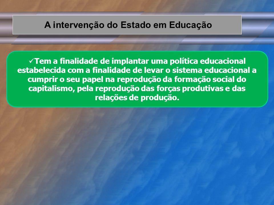 A intervenção do Estado em Educação