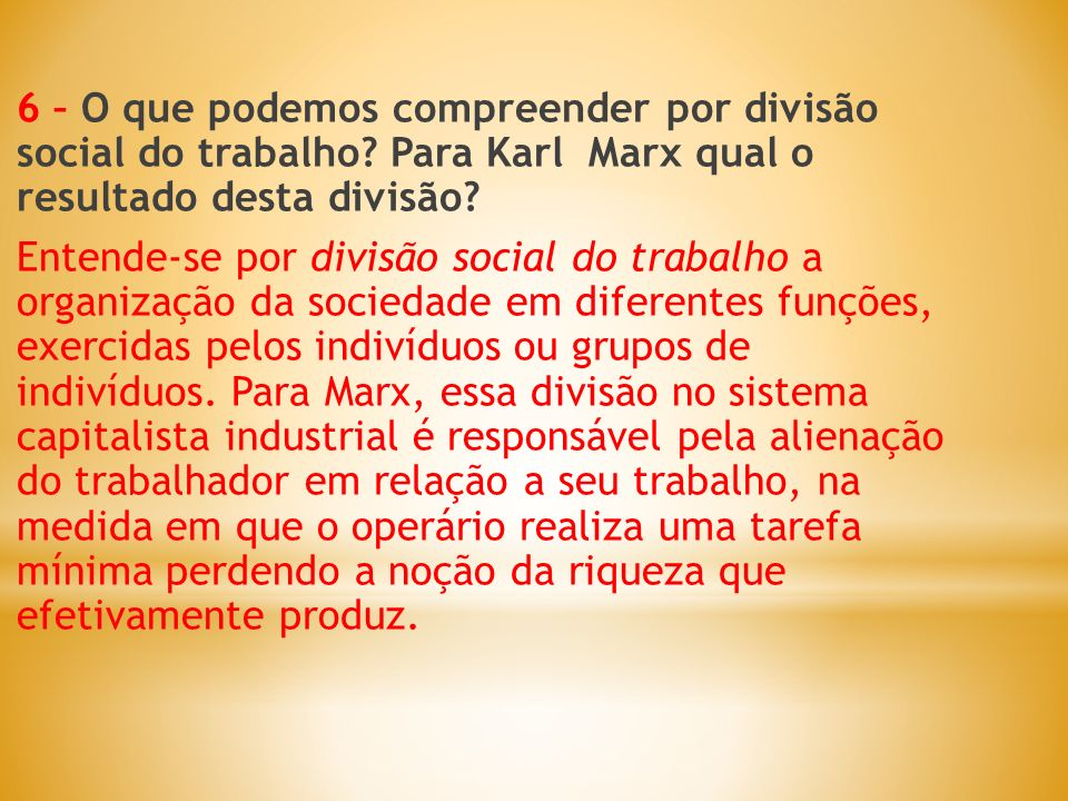 6 – O que podemos compreender por divisão social do trabalho