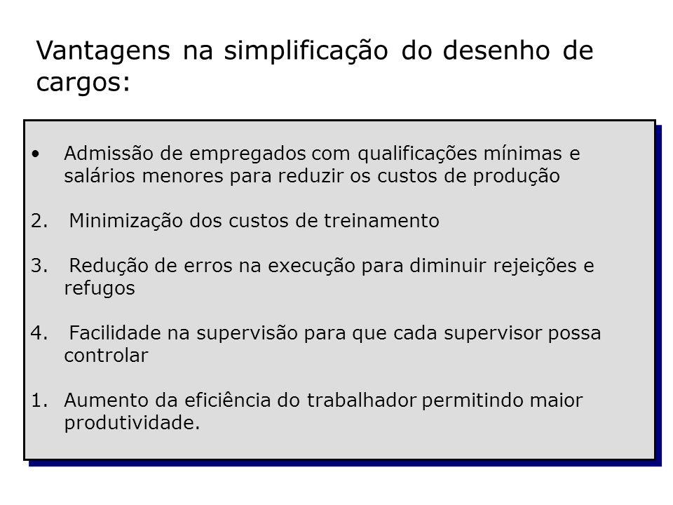 Vantagens na simplificação do desenho de cargos: