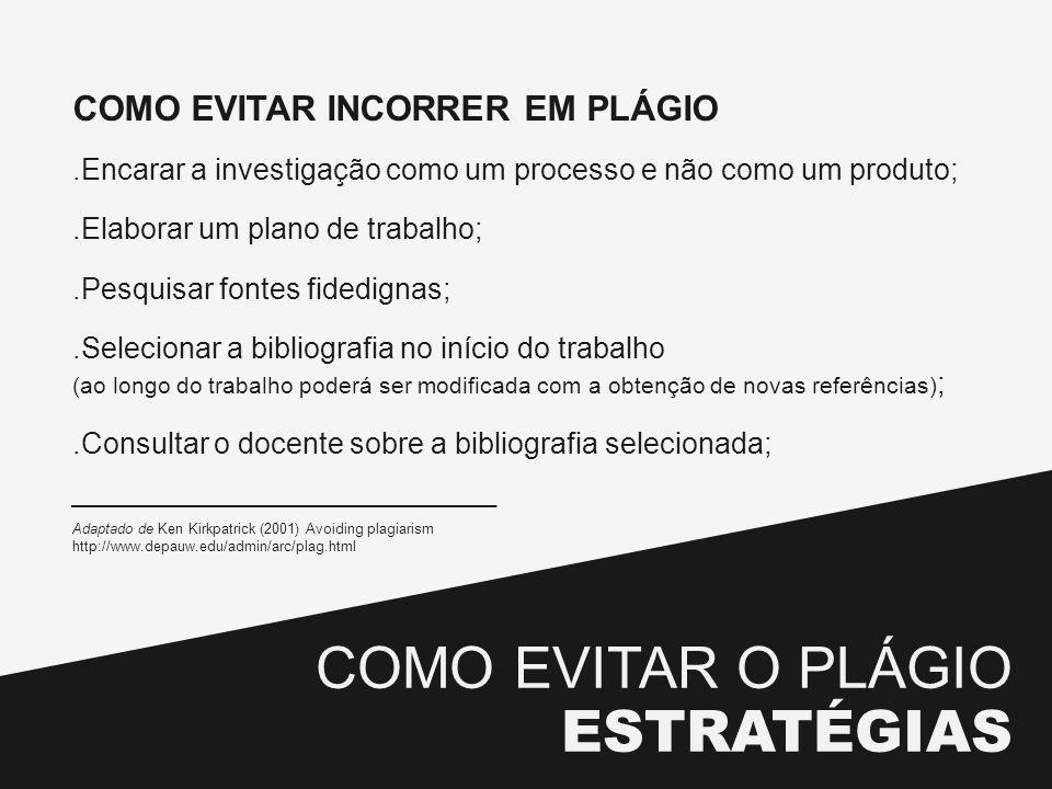 COMO EVITAR O PLÁGIO ESTRATÉGIAS