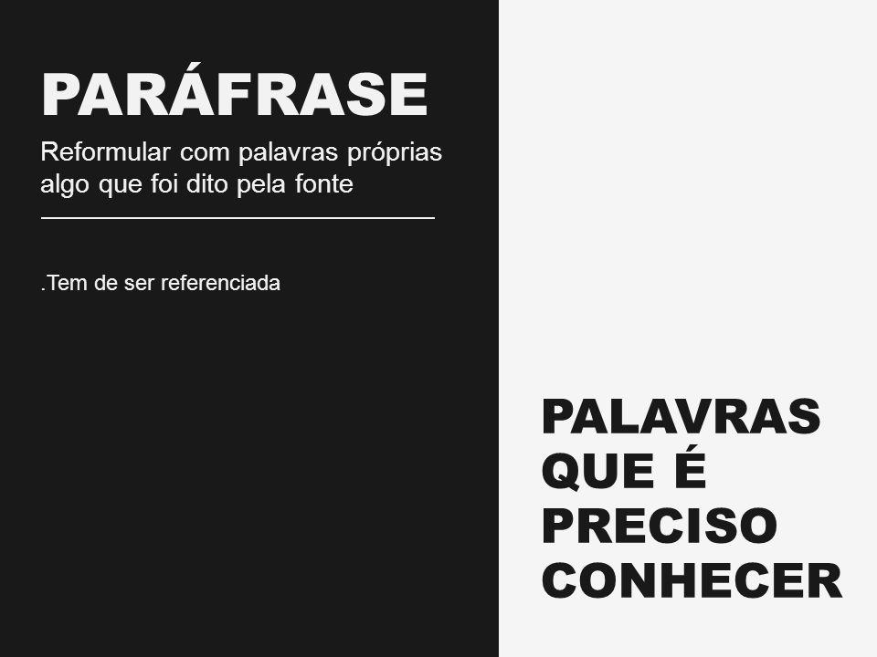 PALAVRAS QUE É PRECISO CONHECER