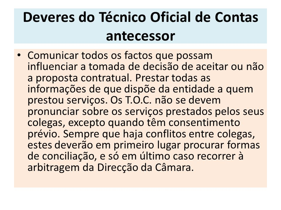 Deveres do Técnico Oficial de Contas antecessor