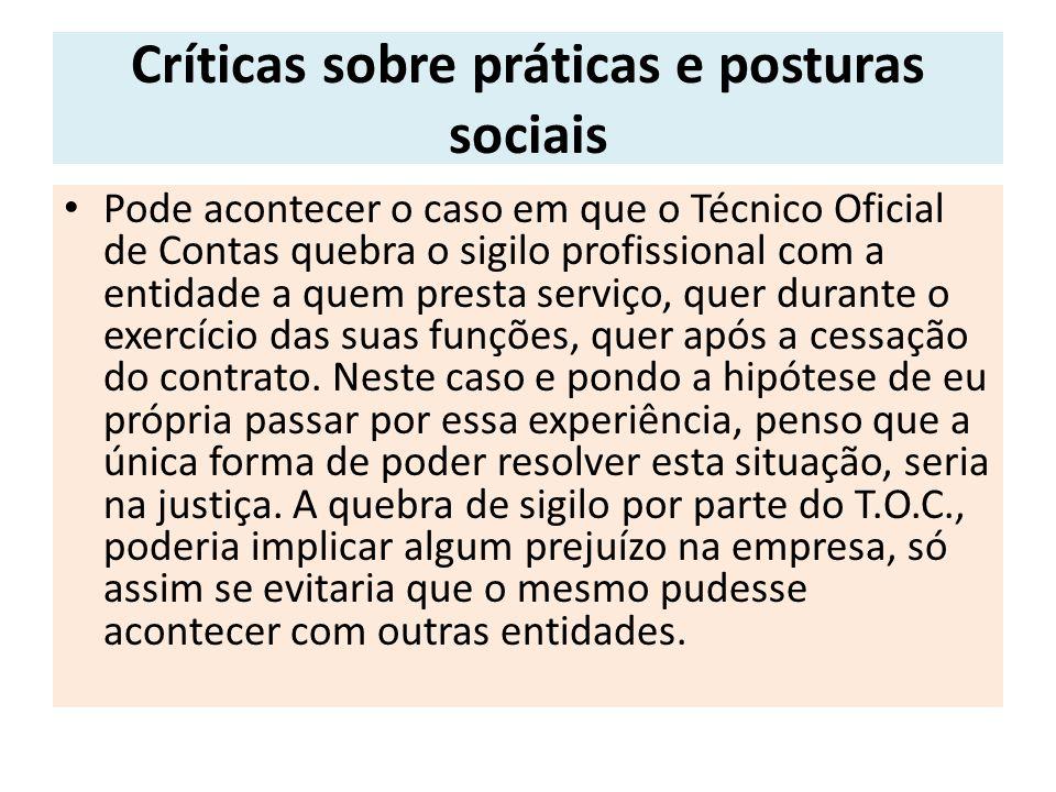 Críticas sobre práticas e posturas sociais