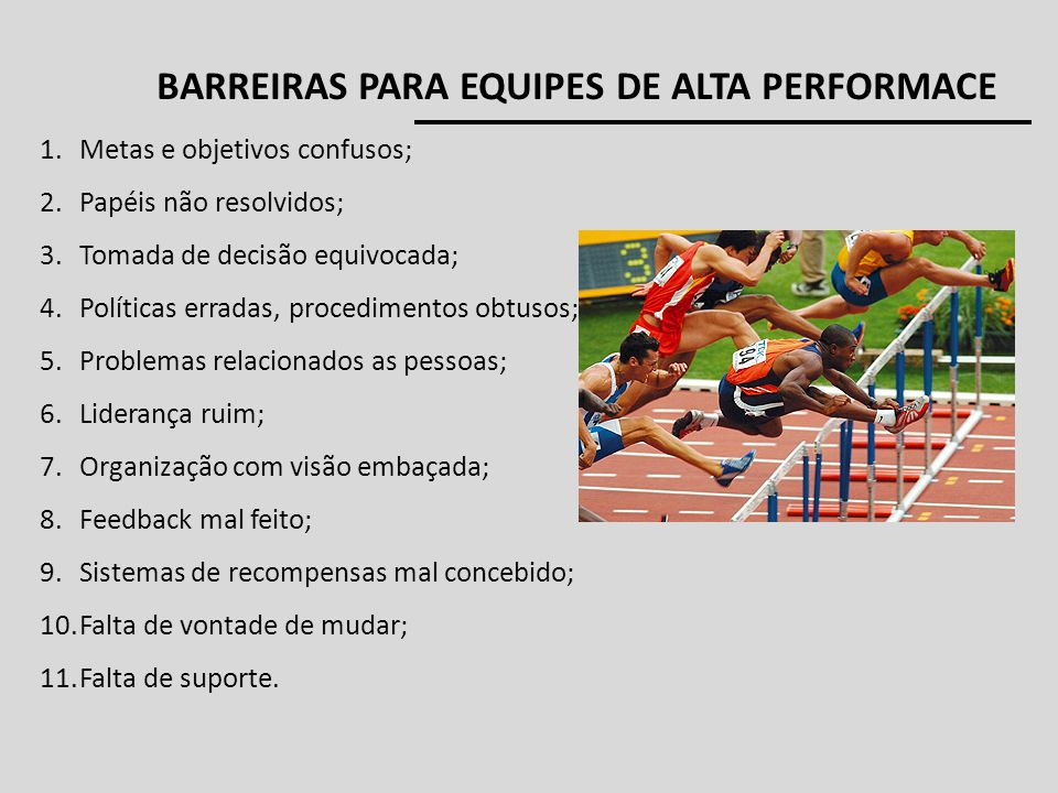 BARREIRAS PARA EQUIPES DE ALTA PERFORMACE