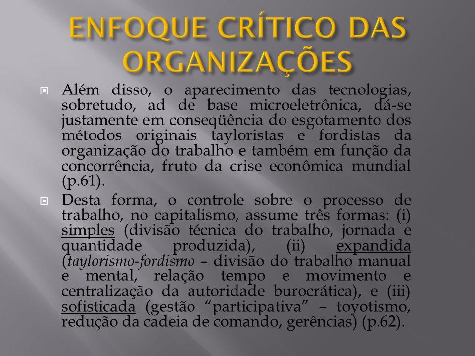 ENFOQUE CRÍTICO DAS ORGANIZAÇÕES