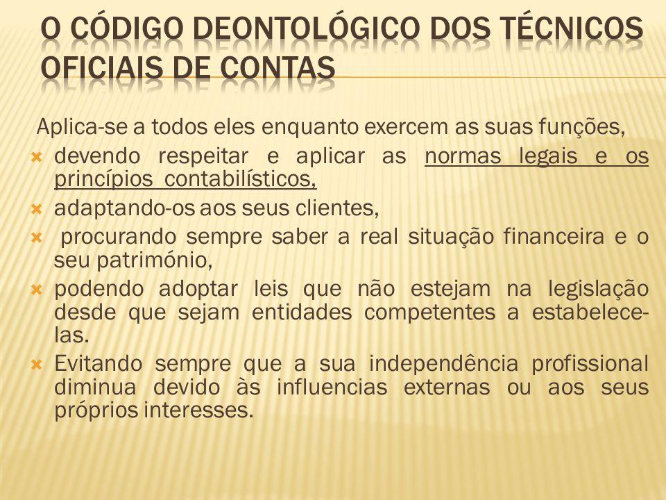 O código deontológico dos técnicos oficiais de contas