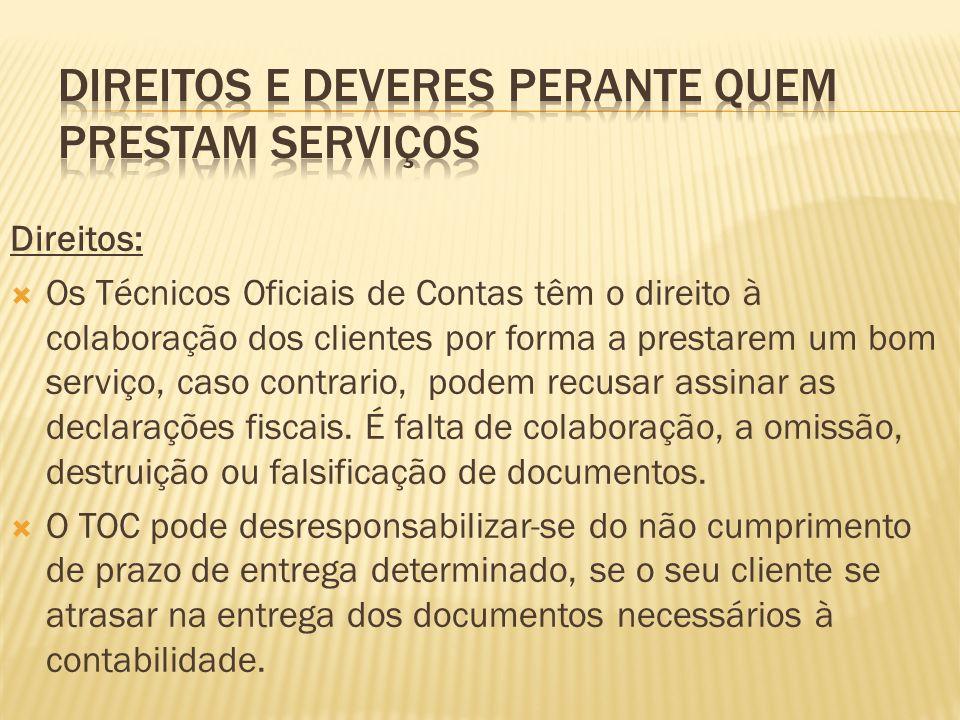 Direitos e deveres perante quem prestam serviços