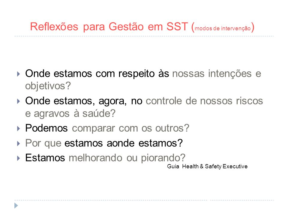 Guia Health & Safety Executive y las preguntas a responder