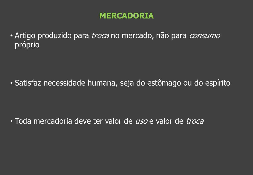 MERCADORIA Artigo produzido para troca no mercado, não para consumo próprio. Satisfaz necessidade humana, seja do estômago ou do espírito.