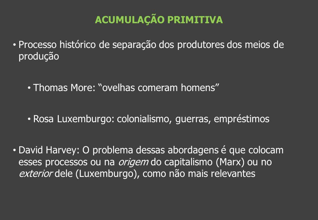 ACUMULAÇÃO PRIMITIVA Processo histórico de separação dos produtores dos meios de produção. Thomas More: ovelhas comeram homens
