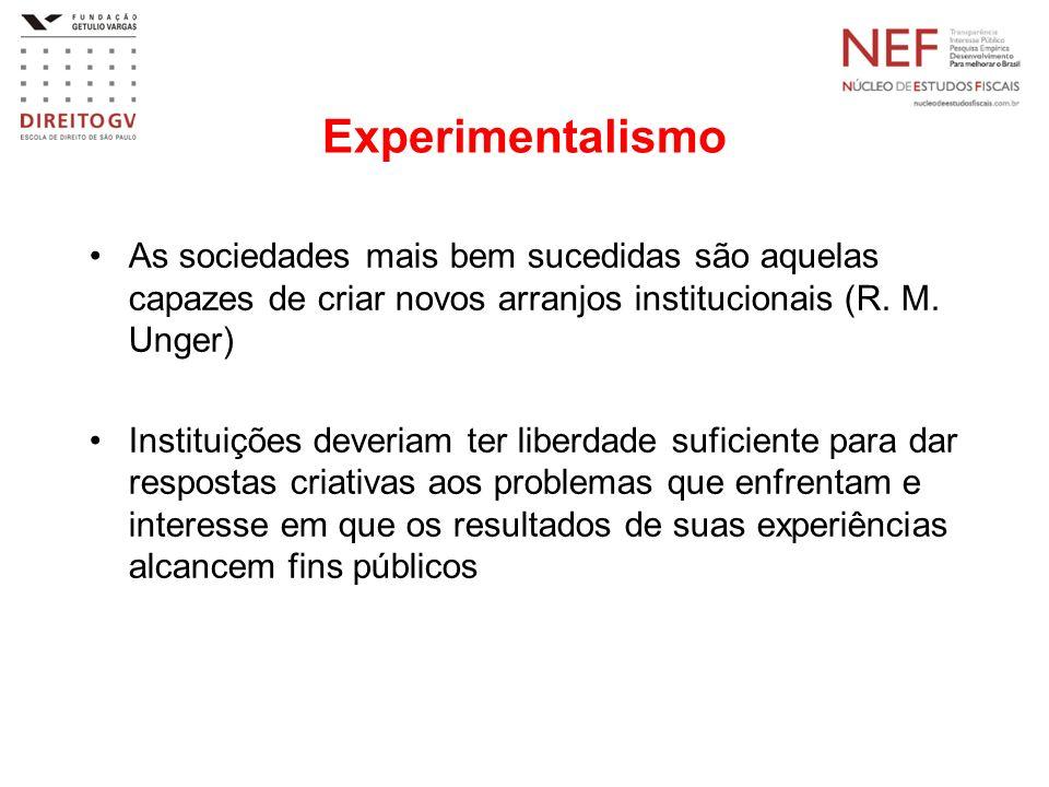 Experimentalismo As sociedades mais bem sucedidas são aquelas capazes de criar novos arranjos institucionais (R. M. Unger)