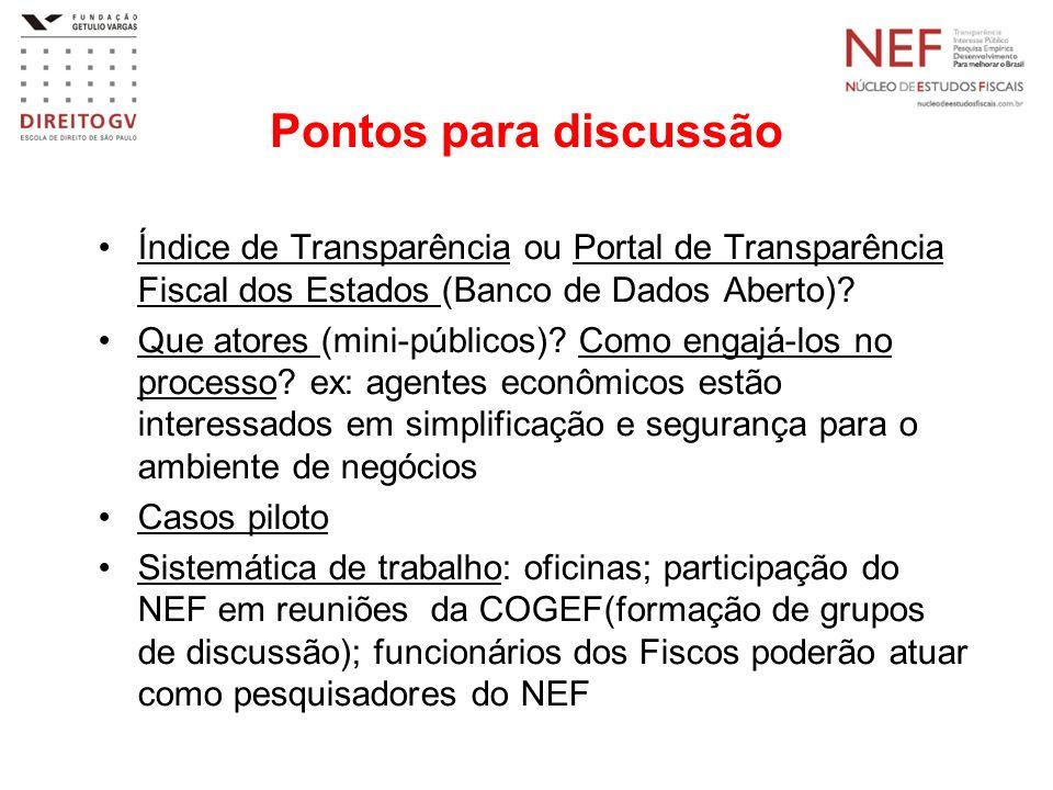 Pontos para discussão Índice de Transparência ou Portal de Transparência Fiscal dos Estados (Banco de Dados Aberto)