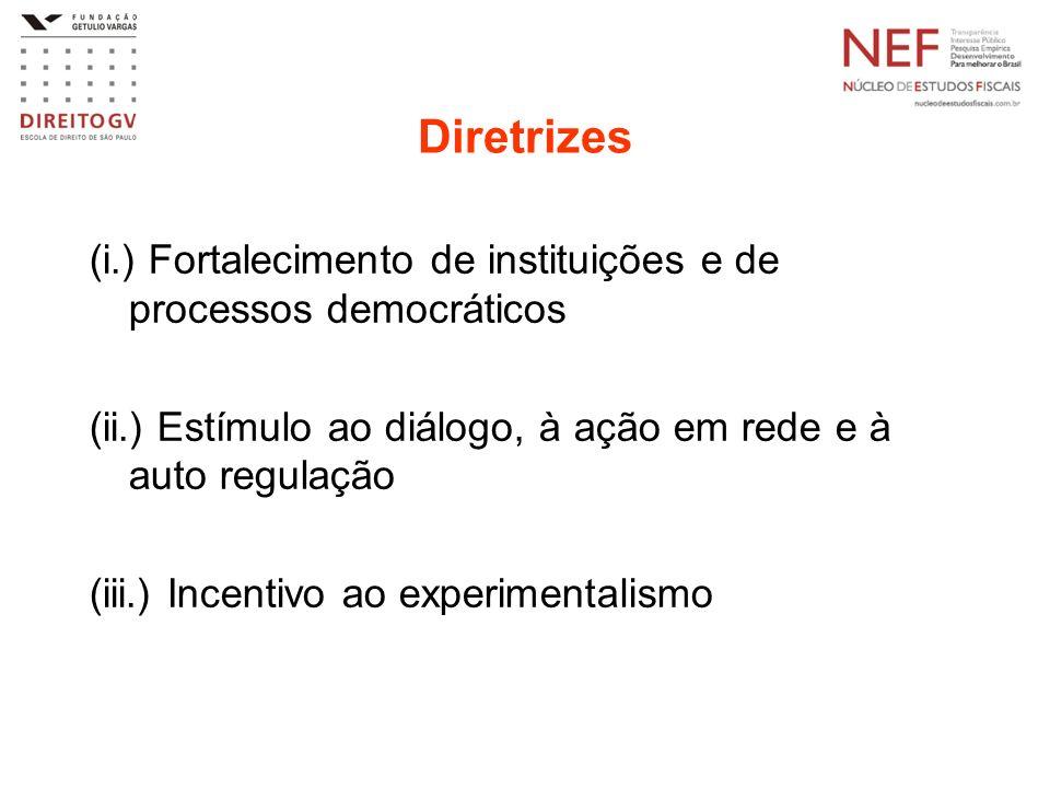 Diretrizes (i.) Fortalecimento de instituições e de processos democráticos. (ii.) Estímulo ao diálogo, à ação em rede e à auto regulação.