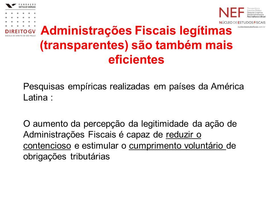Administrações Fiscais legítimas (transparentes) são também mais eficientes