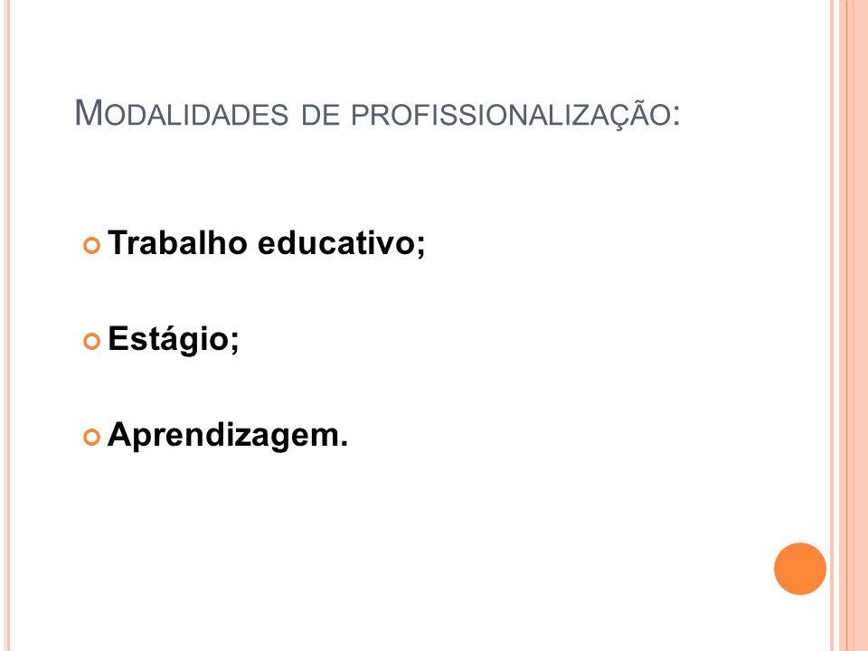 Modalidades de profissionalização:
