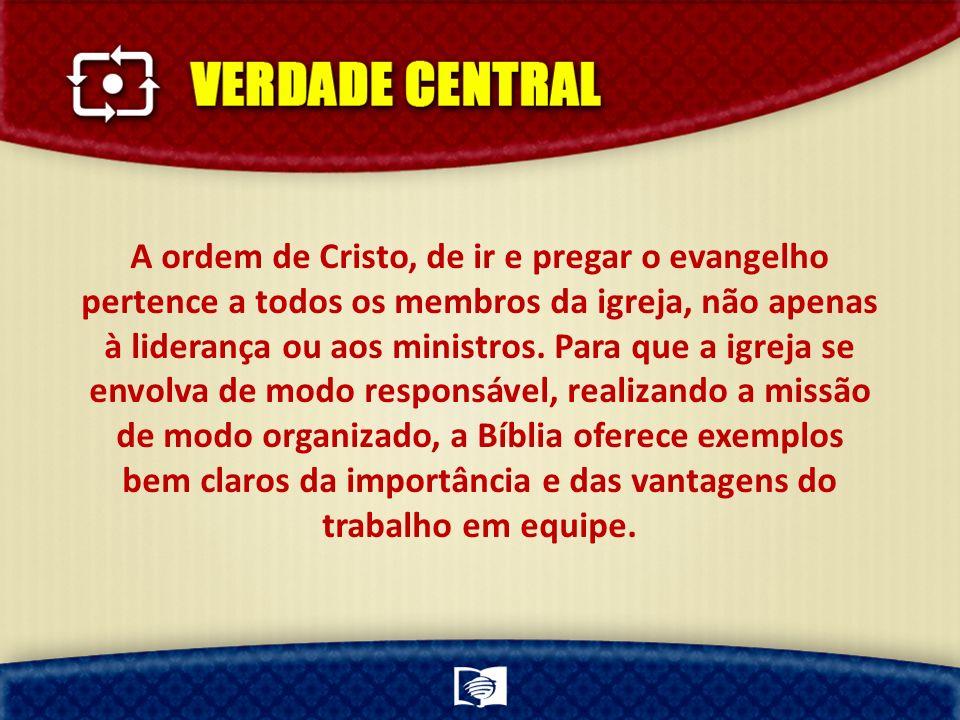 A ordem de Cristo, de ir e pregar o evangelho pertence a todos os membros da igreja, não apenas à liderança ou aos ministros.