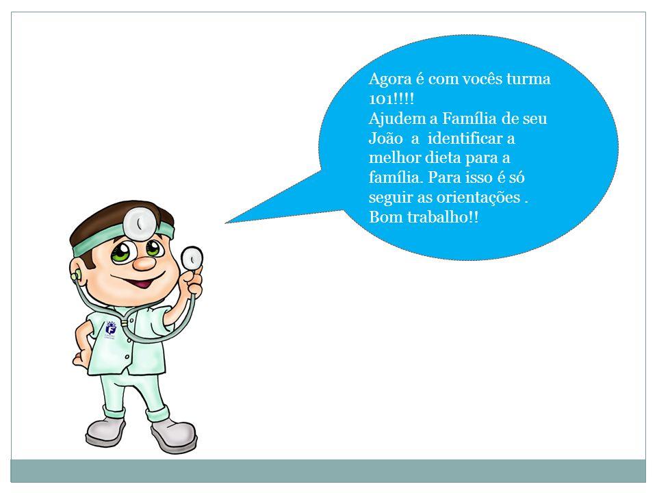 Agora é com vocês turma 101!!!! Ajudem a Família de seu João a identificar a melhor dieta para a família. Para isso é só seguir as orientações .