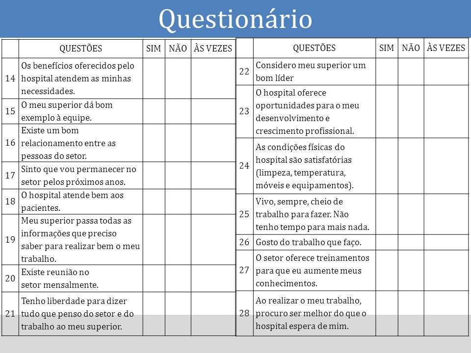 Questionário QUESTÕES SIM NÃO ÀS VEZES 14