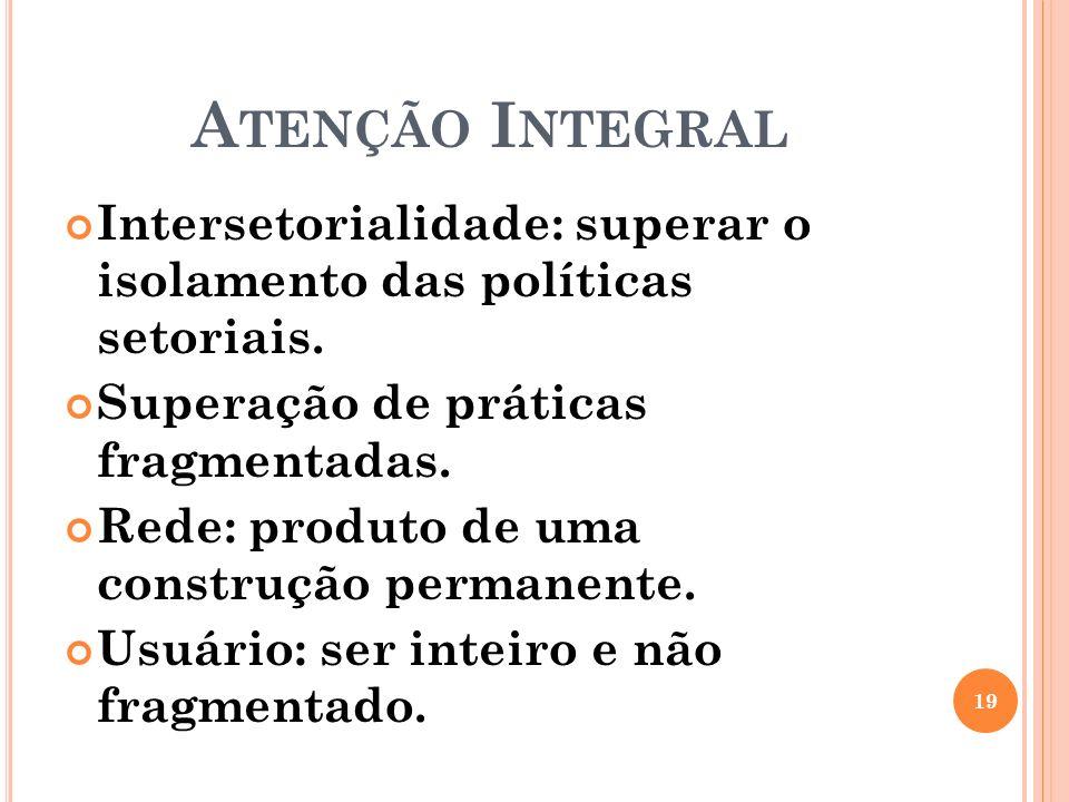 Atenção Integral Intersetorialidade: superar o isolamento das políticas setoriais. Superação de práticas fragmentadas.