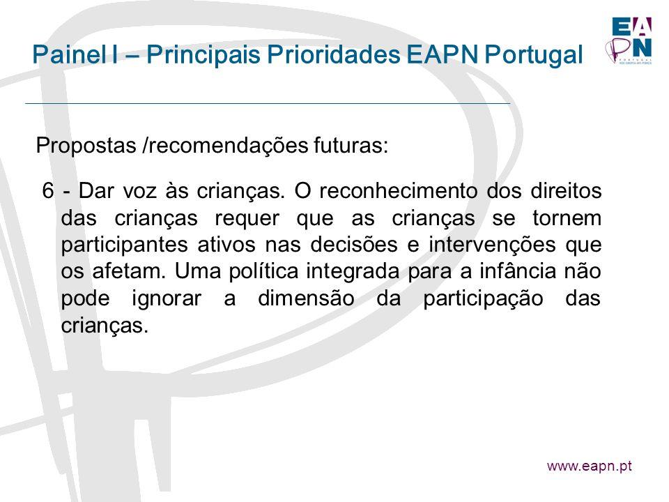 Painel I – Principais Prioridades EAPN Portugal