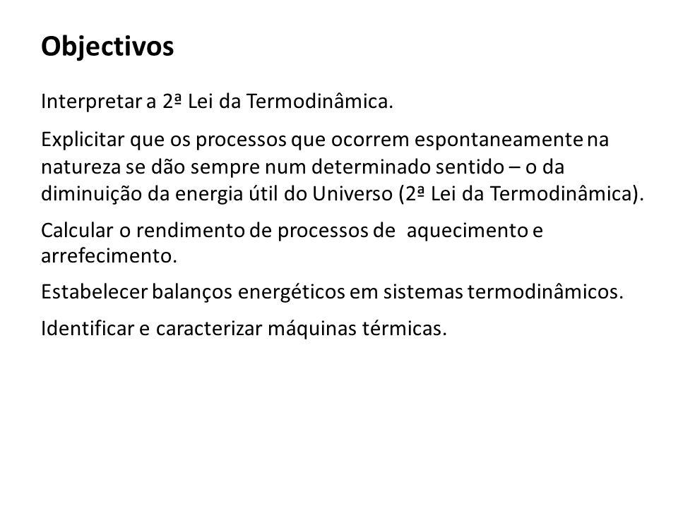 Objectivos Interpretar a 2ª Lei da Termodinâmica.