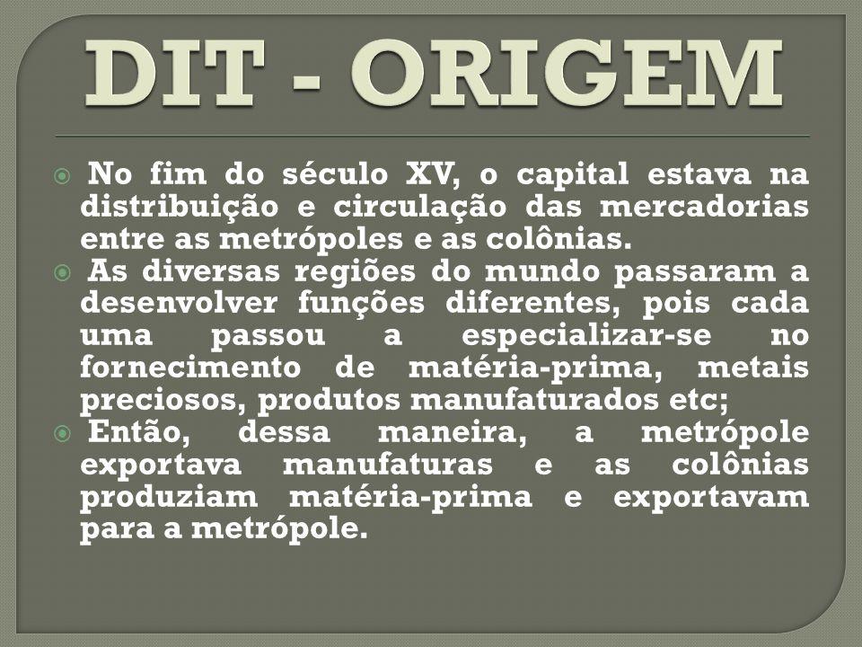 DIT - ORIGEM No fim do século XV, o capital estava na distribuição e circulação das mercadorias entre as metrópoles e as colônias.