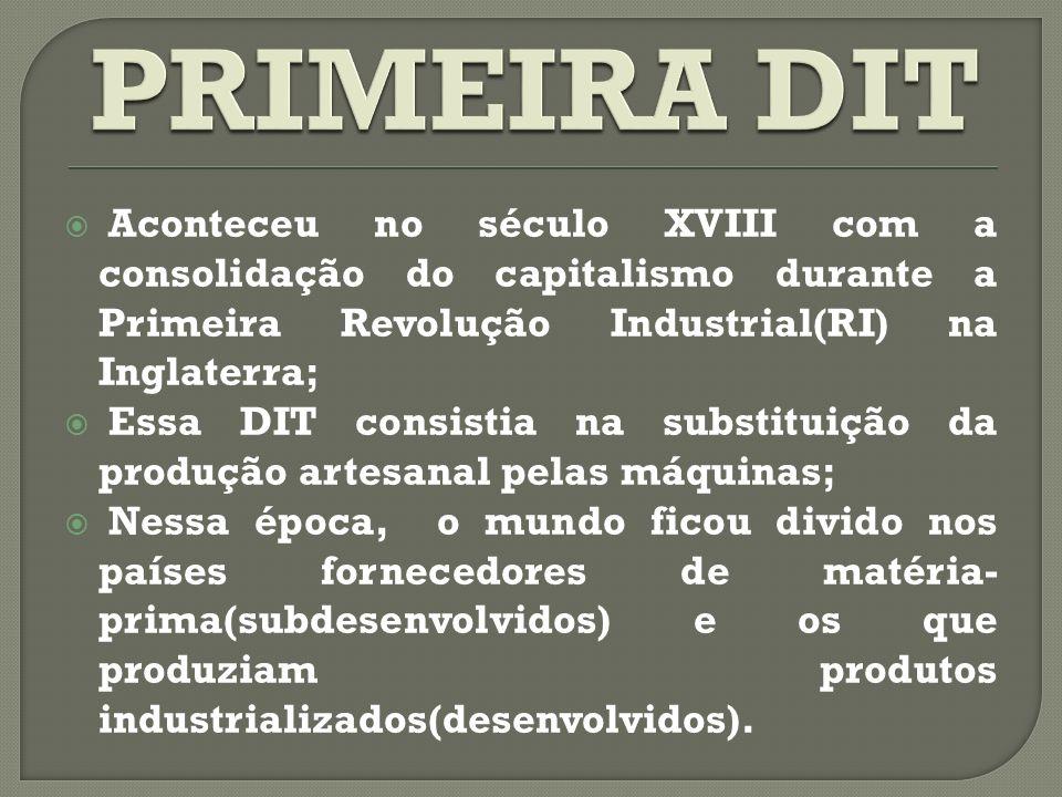 PRIMEIRA DIT Aconteceu no século XVIII com a consolidação do capitalismo durante a Primeira Revolução Industrial(RI) na Inglaterra;