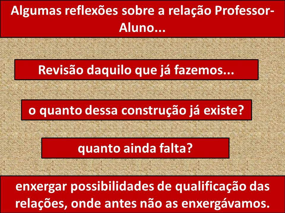Algumas reflexões sobre a relação Professor-Aluno...