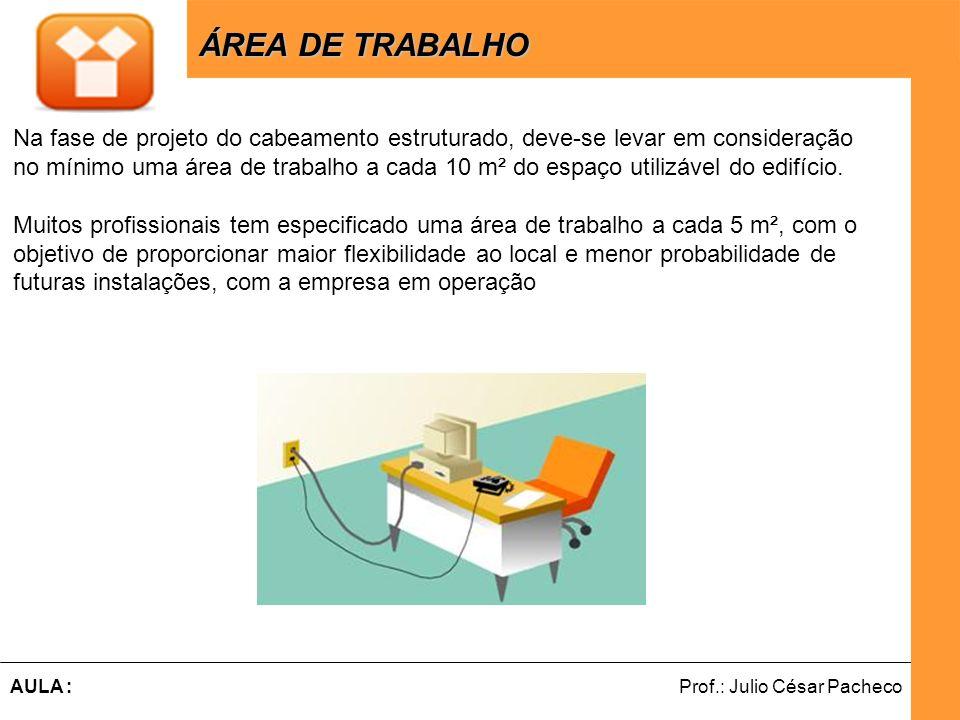 ÁREA DE TRABALHO Na fase de projeto do cabeamento estruturado, deve-se levar em consideração.