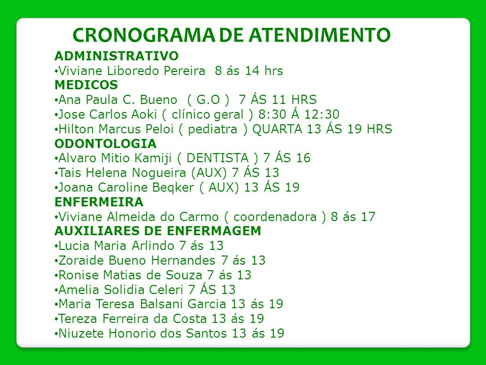 CRONOGRAMA DE ATENDIMENTO