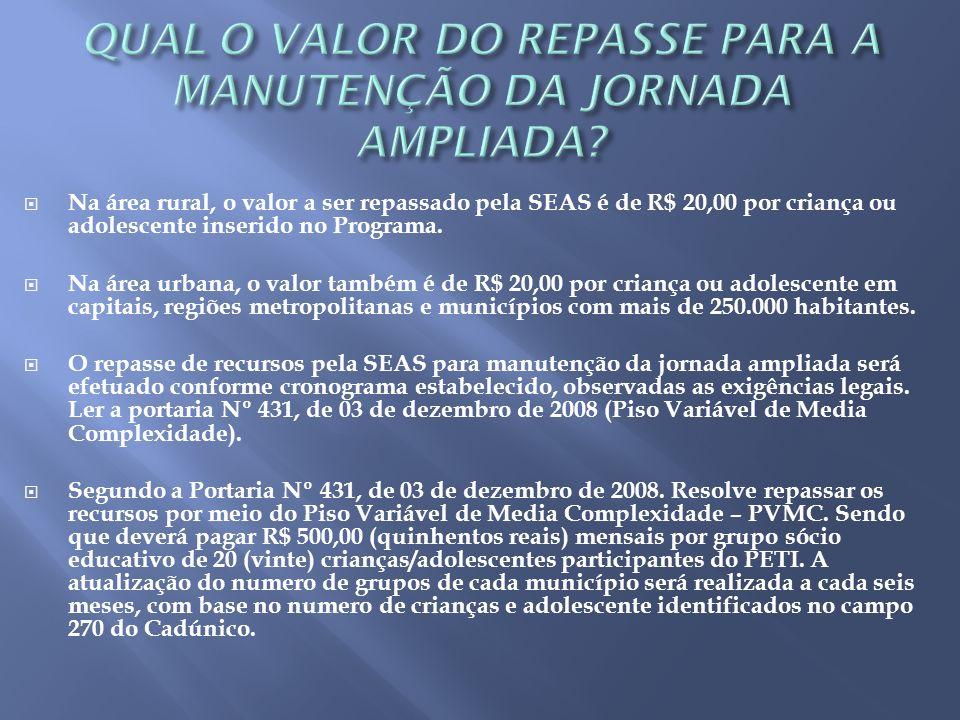 QUAL O VALOR DO REPASSE PARA A MANUTENÇÃO DA JORNADA AMPLIADA
