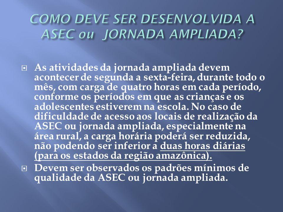 COMO DEVE SER DESENVOLVIDA A ASEC ou JORNADA AMPLIADA