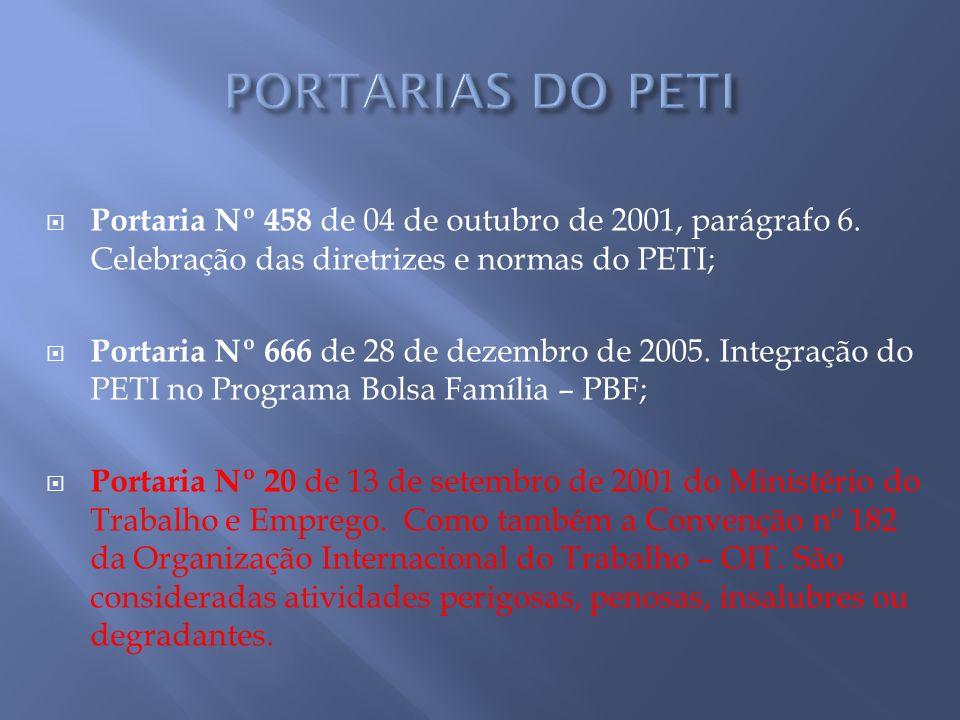 PORTARIAS DO PETI Portaria Nº 458 de 04 de outubro de 2001, parágrafo 6. Celebração das diretrizes e normas do PETI;