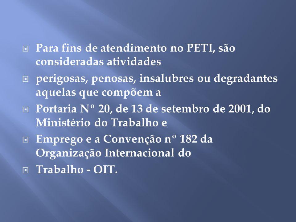 Para fins de atendimento no PETI, são consideradas atividades