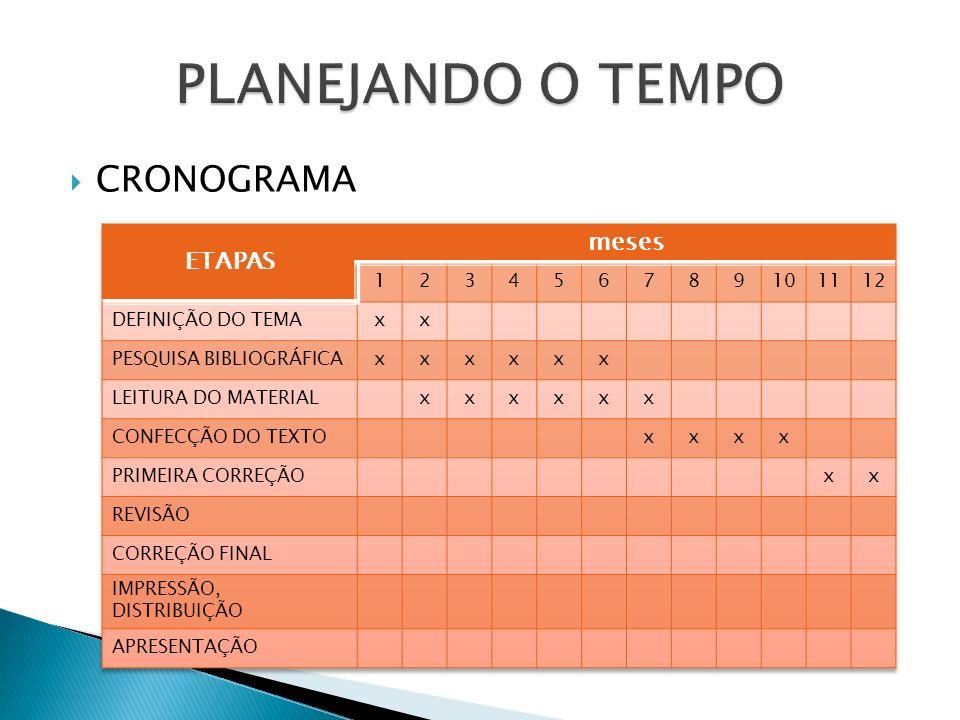 PLANEJANDO O TEMPO CRONOGRAMA ETAPAS meses 1 2 3 4 5 6 7 8 9 10 11 12