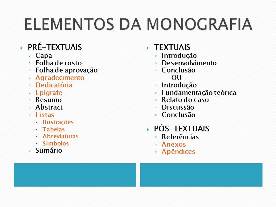 ELEMENTOS DA MONOGRAFIA
