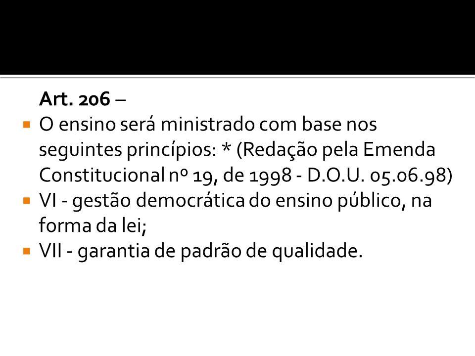 Art. 206 – O ensino será ministrado com base nos seguintes princípios: * (Redação pela Emenda Constitucional nº 19, de 1998 - D.O.U. 05.06.98)