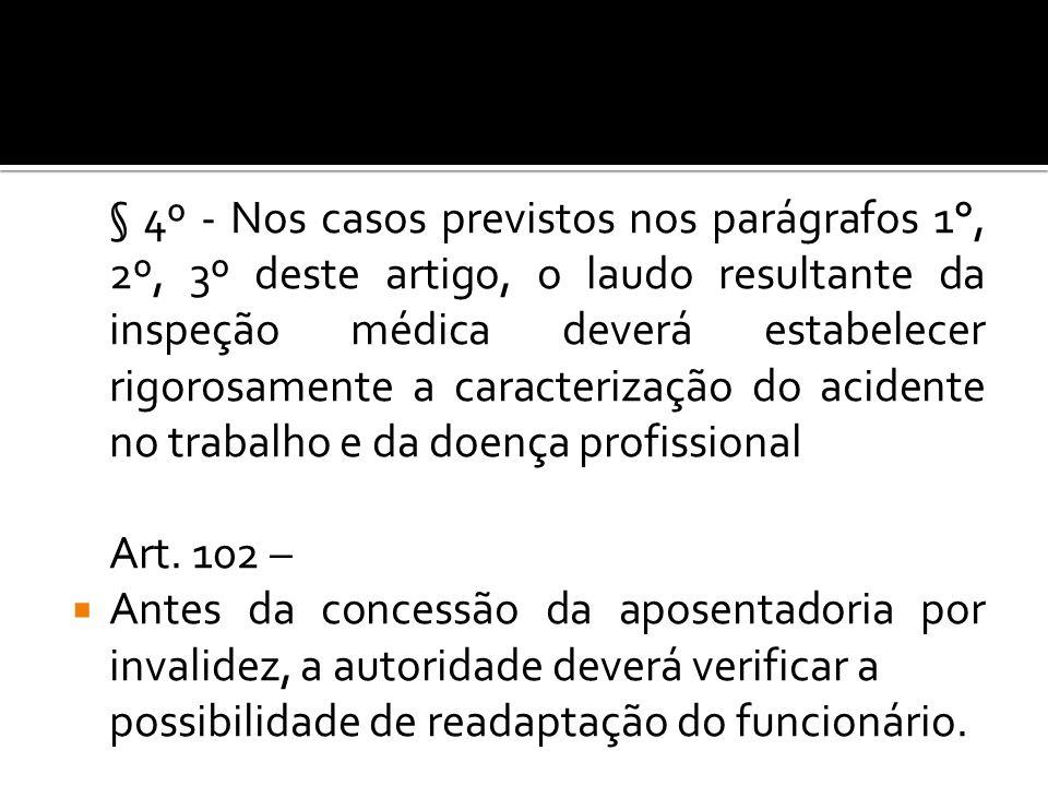 § 4º - Nos casos previstos nos parágrafos 1°, 2º, 3º deste artigo, o laudo resultante da inspeção médica deverá estabelecer rigorosamente a caracterização do acidente no trabalho e da doença profissional