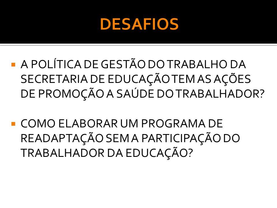 DESAFIOS A POLÍTICA DE GESTÃO DO TRABALHO DA SECRETARIA DE EDUCAÇÃO TEM AS AÇÕES DE PROMOÇÃO A SAÚDE DO TRABALHADOR