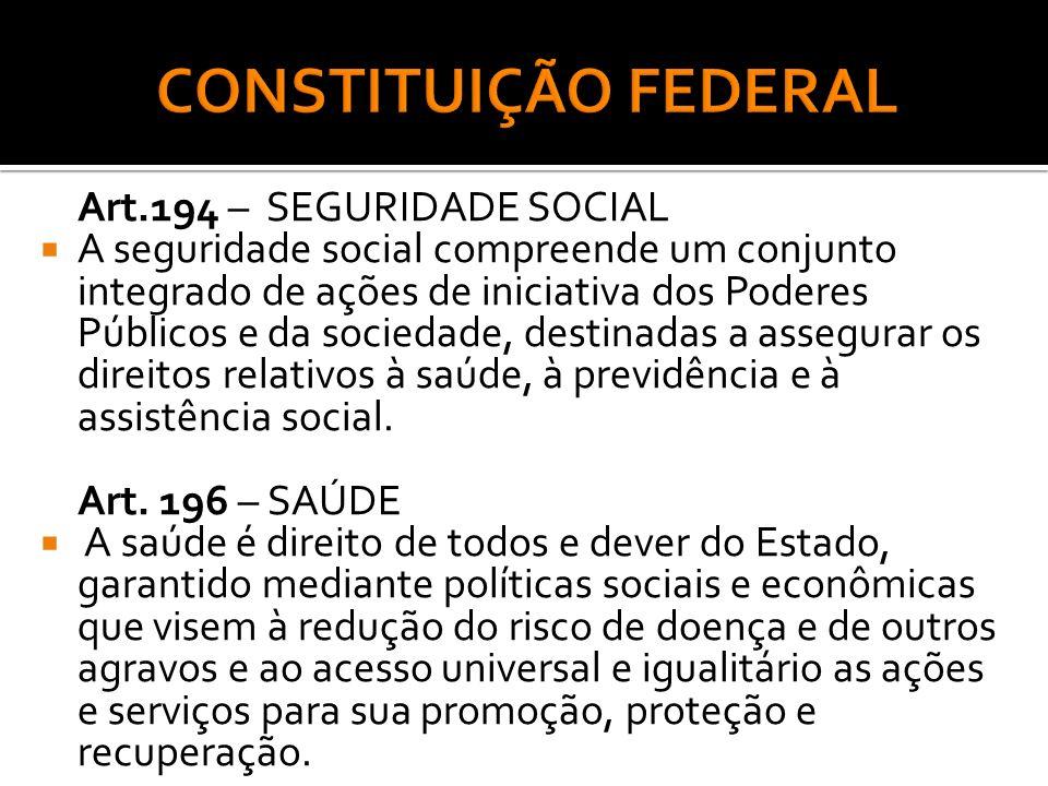 CONSTITUIÇÃO FEDERAL Art.194 – SEGURIDADE SOCIAL