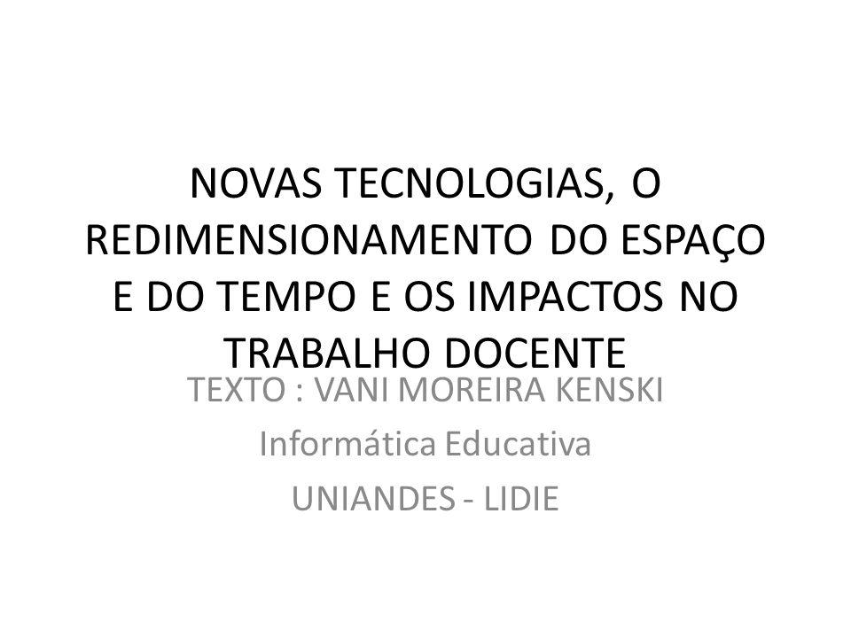 TEXTO : VANI MOREIRA KENSKI Informática Educativa UNIANDES - LIDIE