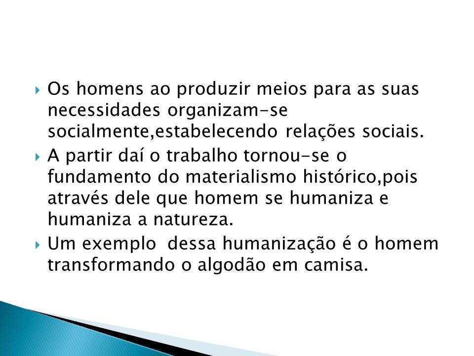 Os homens ao produzir meios para as suas necessidades organizam-se socialmente,estabelecendo relações sociais.