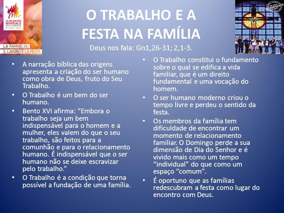 O TRABALHO E A FESTA NA FAMÍLIA Deus nos fala: Gn1,26-31; 2,1-3.