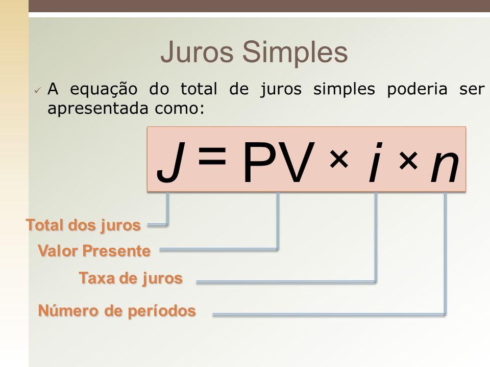 = J PV i n × × Juros Simples