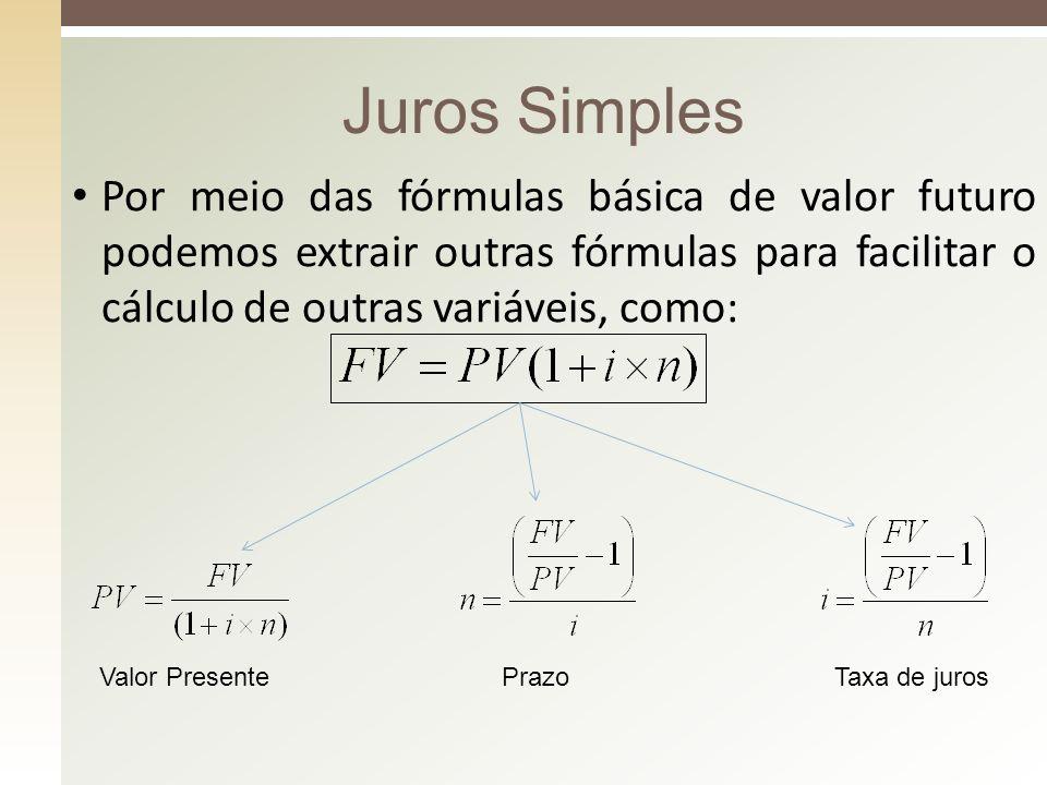 Juros Simples Por meio das fórmulas básica de valor futuro podemos extrair outras fórmulas para facilitar o cálculo de outras variáveis, como: